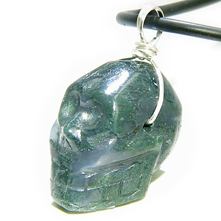 Crystal Skull Gemstone Silver Necklace Pendant Green Moss Agate