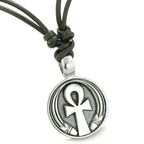 Amulet Ankh Egyptian Power of Life Lucky Charm Medallion on Adjustable Leather Cord Necklace