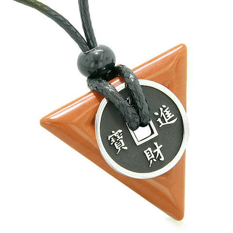 Amulet Lucky Coin Charm Triangle Pyramid Powers Red Jasper Spiritual Good Luck Pendant Necklace
