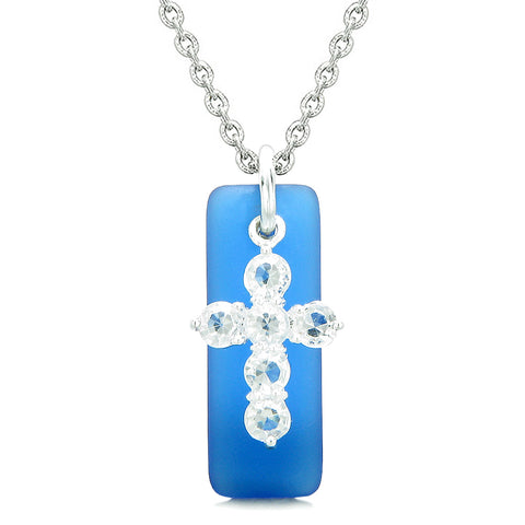 Sea Glass Ocean Blue Tag Adorable Crystal Cross Protection Positive Powers Amulet 18 Inch Necklace