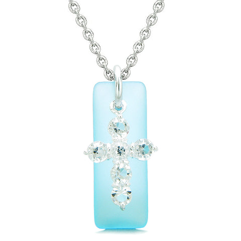 Sea Glass Sky Blue Tag Adorable Crystal Cross Protection Positive Powers Amulet 18 Inch Necklace