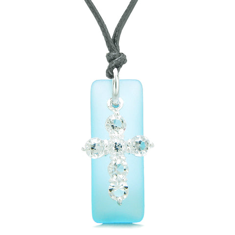Sea Glass Sky Blue Tag Adorable Crystal Cross Protection Positive Powers Amulet Adjustable Necklace