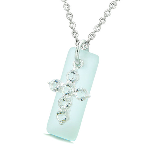 Sea Glass Ocean Foam Tag Adorable Crystal Cross Protection Positive Powers Amulet 18 Inch Necklace