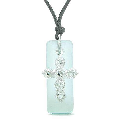 Sea Glass Ocean Foam Tag Adorable Crystal Cross Protection Positive Powers Amulet Adjustable Necklace