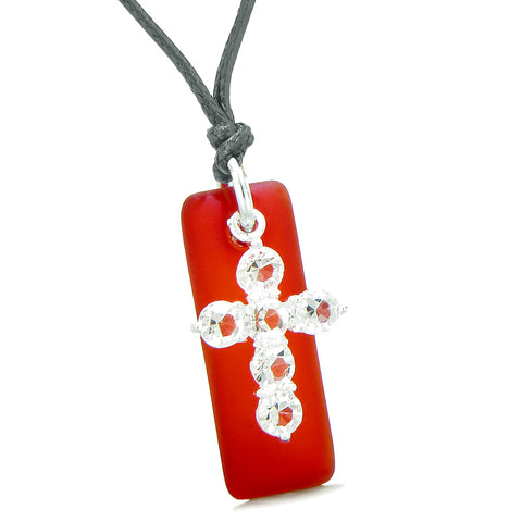 Sea Glass Royal Red Tag Adorable Crystal Cross Protection Positive Powers Amulet Adjustable Necklace