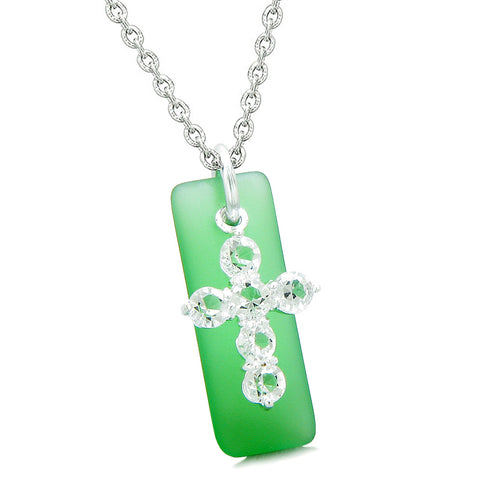 Sea Glass Ocean Green Tag Adorable Crystal Cross Protection Positive Powers Amulet 18 Inch Necklace