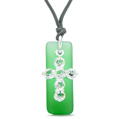 Sea Glass Ocean Green Tag Adorable Crystal Cross Protection Positive Powers Amulet Adjustable Necklace