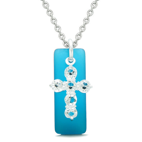 Sea Glass Cobalt Blue Tag Adorable Crystal Cross Protection Positive Powers Amulet 18 Inch Necklace