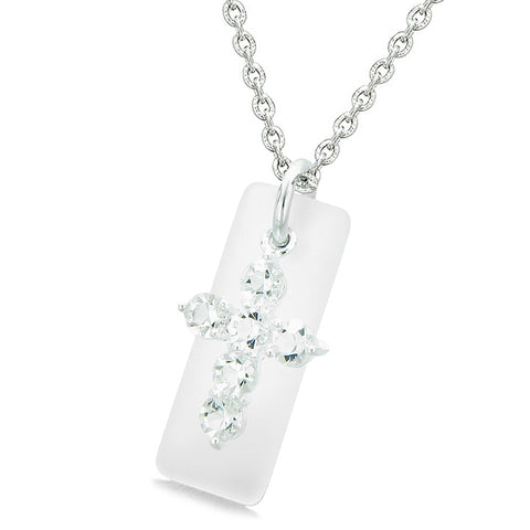 Sea Glass Mist White Tag Adorable Crystal Cross Protection Positive Powers Amulet 18 Inch Necklace