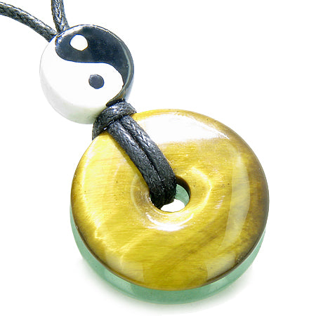Amulet Double Lucky Yin Yang Donuts Tiger Eye Aventurine Evil Eye ProtectiMoney Powers Necklace
