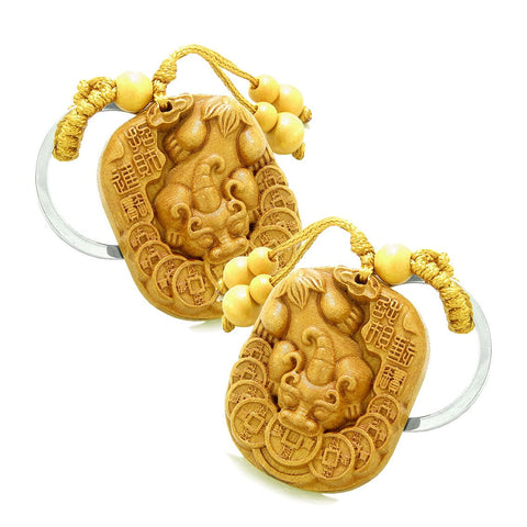 Amulet Courage DragLucky Coins Protect Good Luck Power Charms Feng Shui Keychain Set Blessings