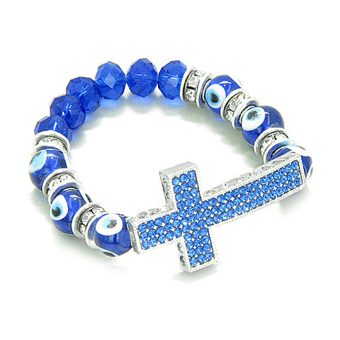 Amulet Evil Eye ProtectiHearts Cross Charm Spiritual Bracelet Cute Blue Swarovski Elements Beads