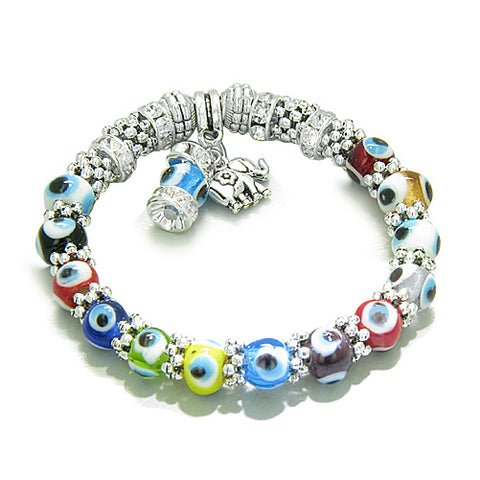 Amulet Evil Eye ProtectiLucky Elephant Cute Charm Multicolor Eye Beads Swarovski Elements Beads