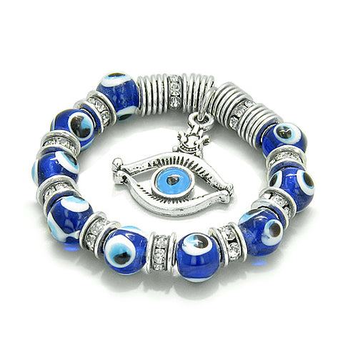 Amulet Evil Eye ProtectiHamsa Eye Lucky Charm Blue Glass Swarovski Elements Beads