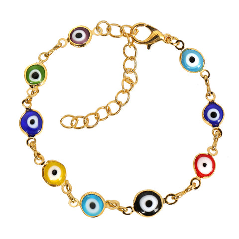 Evil Eye Protection Amulet Colorful Fun Eye Beads Gold-Tone Lucky Charms Bracelet