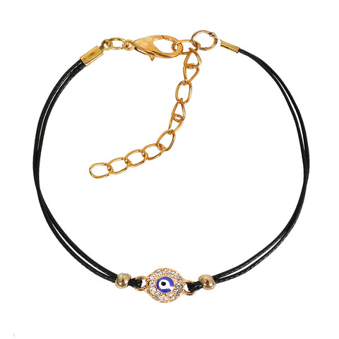 Evil Eye Protection Amulet Magical Powers Gold-Tone Sparkling White Crystals Elegant Cord Bracelet