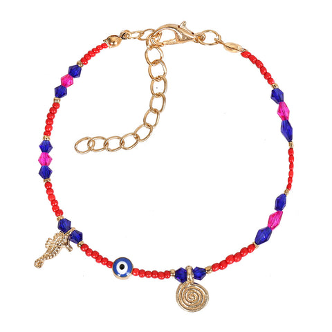 Evil Eye Protection Amulet Blue Pink Red Accents Sea Horse Magical Symbols Lucky Charms Bracelet