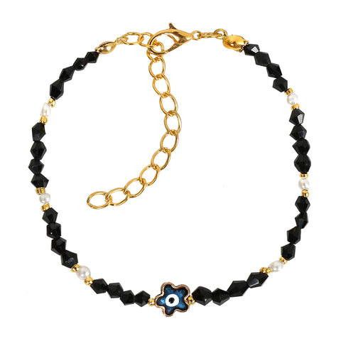 Evil Eye Protection Blue Star Amulet Royal Black White Accents Magic Symbol Lucky Charms Bracelet
