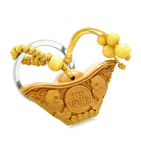 Amulet Double Lucky Fish and Wulu Good Luck Powers Coin Charms Feng Shui Symbols Keychain Blessing