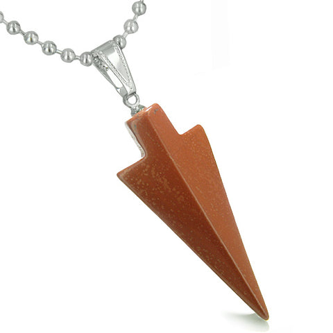 Amulet Lucky Charm Arrowhead Totem Red Jasper Gemstone Good Luck Believe Powers Pendant Necklace