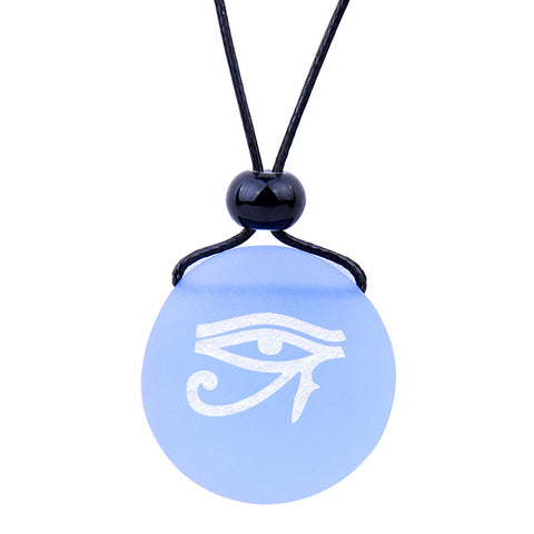 Frosted Sea Glass Stones All Seeing Eye of Horus Love Couples BFF Set Amulets Sky Royal Blue Necklaces