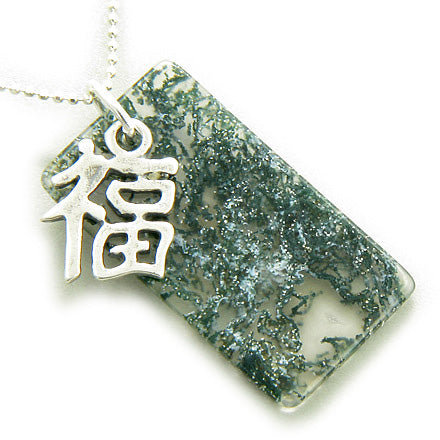 Good Luck and Fortune Silver Green Moss Agate Pendant Necklace