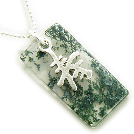 Good Luck and Long Life Silver Green Moss Agate Pendant Necklace