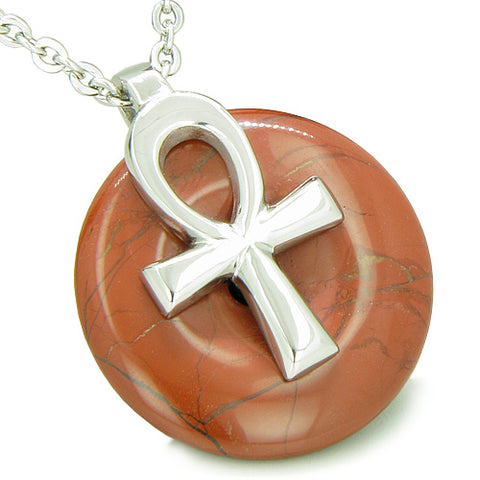 All Powers of Life Ankh Egyptian Amulet Red Jasper Energy Donut Pendant Necklace