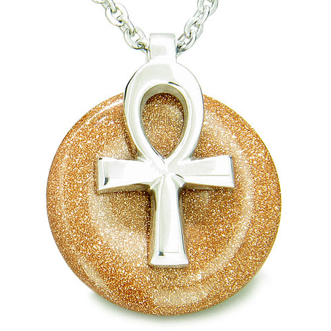All Powers of Life Ankh Egyptian Amulet Goldstone Good Luck Donut Pendant Necklace