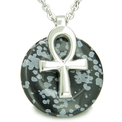 All Powers of Life Ankh Egyptian Amulet Snowflake Obsidian Protection Donut Pendant Necklace