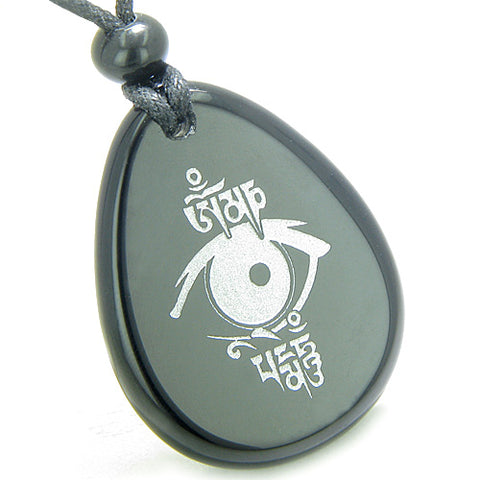 Amulet All Seeing Eye Ancient OM Tibetan Mantra Spiritual Protection Onyx Totem Pendant Necklace