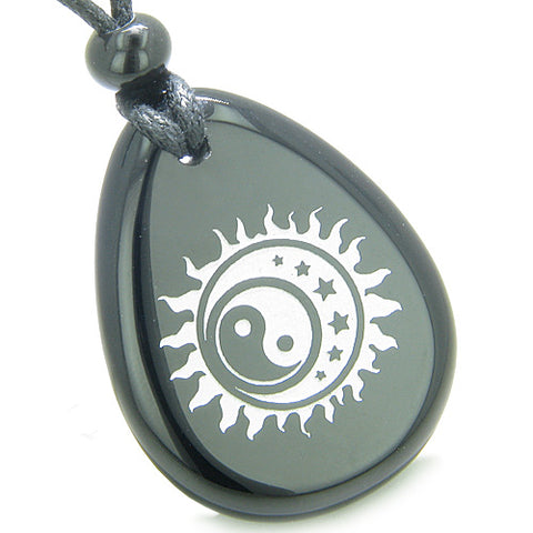 Amulet Positive Energy Magic Earth Yin Yang Powers Sun Moon Stars Onyx Totem Pendant Necklace