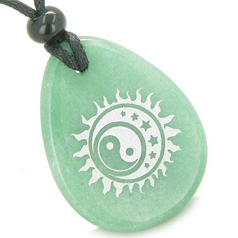 Amulet Positive Energy Magic Earth Yin Yang Powers Sun Moon Stars Aventurine Totem Pendant Necklace
