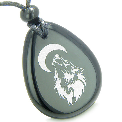 Amulet Brave Protection Howling Wolf Moon Spiritual Powers Onyx Totem Pendant Necklace