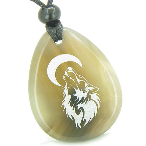 Amulet Brave Protection Howling Wolf Moon Good Luck Powers Agate Totem Stone Pendant Necklace
