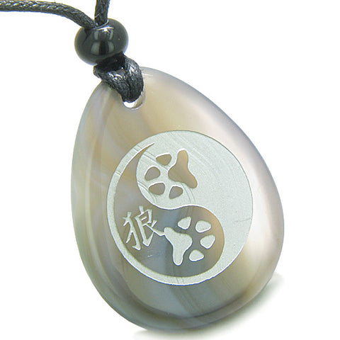 Amulet Wolf Paw Yin Yang Magic Kanji Good Luck Balance Powers Agate Totem Stone Pendant Necklace