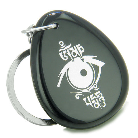 Amulet All Seeing Eye Ancient OM Tibetan Mantra Spiritual Protection Onyx Wish Totem Keychain Ring