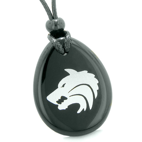Amulet Brave Howling Wolf Head Spiritual Protection Powers Black Agate Wish Stone Totem Pendant Necklace