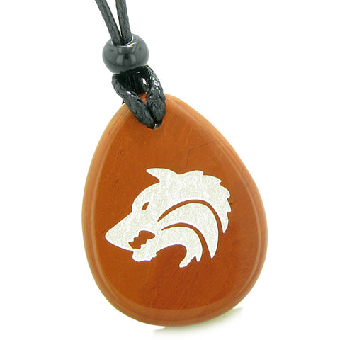 Amulet Brave Howling Wolf Head Spiritual Protection Powers Red Jasper Wish Stone Totem Pendant Necklace