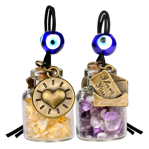 I Love You Envelope Heart Sun Small Car Charms or Home Decor Gem Bottles Amethyst Citrine Amulets