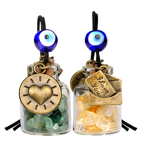I Love You Envelope Heart Sun Small Car Charms or Home Decor Bottles Green Quartz Citrine Amulets