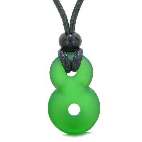Infinity Frosted Sea Glass Forest Green Protection and Eternity Powers Amulet Adjustable Necklace