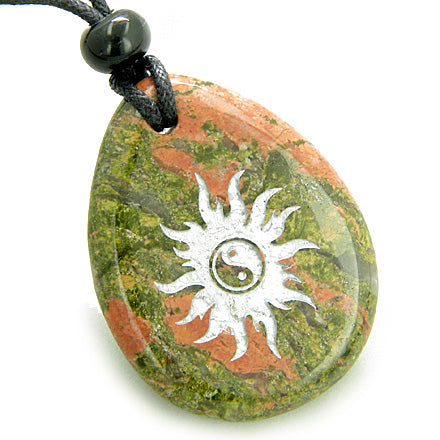 Magic Positive Energy Sun Ying Yang Amulet Unakite Lucky Wish Stone Pendant Necklace