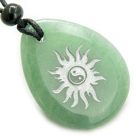 Magic Positive Energy Sun Ying Yang Amulet Aventurine Lucky Wish Stone Pendant Necklace