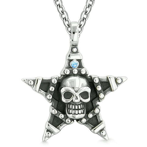 All Seeing Skull Magic Super Star Pentacle Powers Amulet Blue Austrian Crystal Pendant Necklace