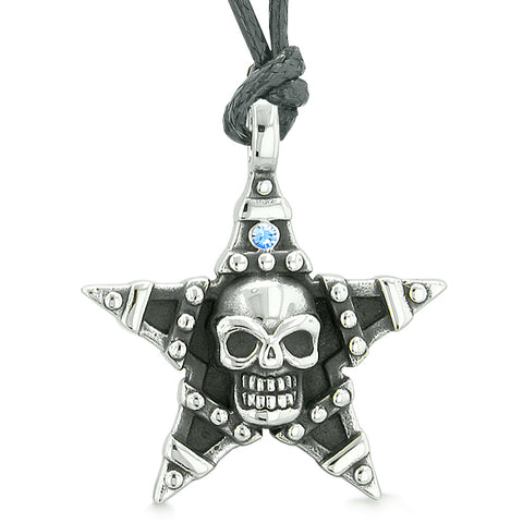 All Seeing Skull Magic Super Star Pentacle Amulet Blue Austrian Crystal Pendant Adjustable Necklace