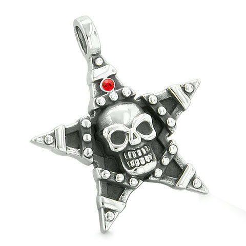 All Seeing Skull Star Pentacle Love Couples Best Friends White Red Crystals Adjustable Necklaces