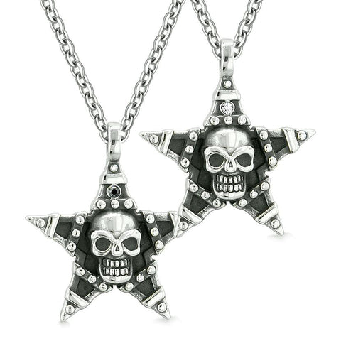 All Seeing Skull Star Pentacle Love Couples or Best Friends White Black Crystals Amulet Necklaces