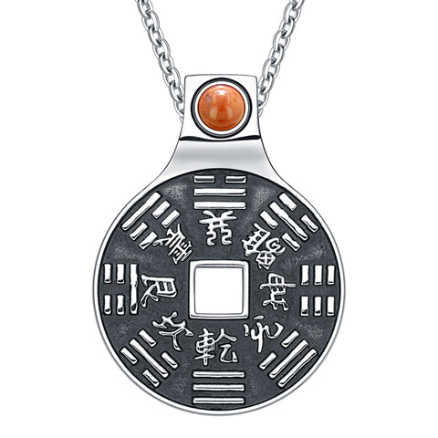 "Yin Yang Lucky Coin Amulet BaGua Magic Kanji Forces of Nature Powers Red Jasper 22"" Necklace"
