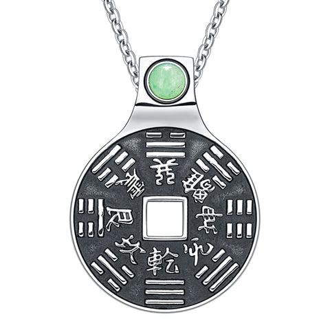 "Yin Yang Lucky Coin Amulet BaGua Magic Kanji Forces of Nature Powers Green Quartz 18"" Necklace"